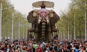 A giant mechanical elephant walks along The Mall as part of The Sultan's Elephant show on May 6 2006