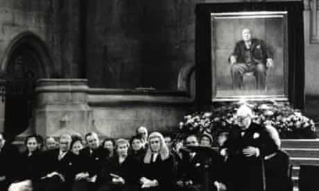 Winston Churchill makes a speech to MPs on November 30 1954 after being presented with a portrait by Graham Sutherland