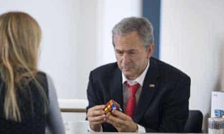 Waxwork George Bush with Rubik's Cube by Alison Jackson at Liverpool Biennial 2008