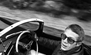 Steve McQueen driving, photographed by William Claxton