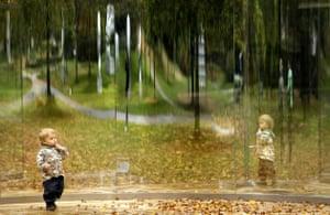 Frieze art fair 2008:  An artwork entitled 'Rectangle Inside 3/4 Cylinder' by US artist Dan Graham