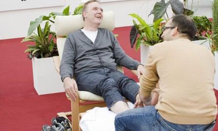 Adrian Searle gets a foot massage from Bert Rodriguez at Frieze art fair 2008