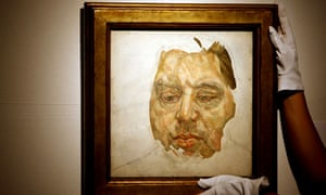 An oil portrait of Francis Bacon painted by Lucian Freud on display at Christie's auction rooms in London