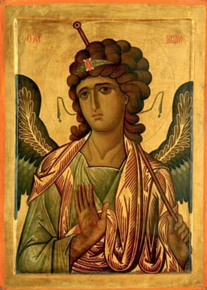 Byzantium at the Royal Academy:  Icon of Archangel Gabriel. one of four panels from a set of the Great Deisis icons from a sanctuary screen, Sinai (?), 13th century Tempura on wood 105 x 75 cm