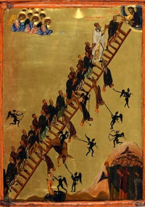 Byzantium at the Royal Academy:  Icon of the heavenly ladder of St John Klimakos, Constantinople or Sinai, late twelfth century. Egg tempura and gold leaf on wood, primed with cloth and gesso 41.1 x 29.1 cm