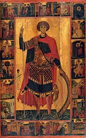 Royal Academy Byzantium exhibition:  Icon of St George and scenes of his life and miracles , Sinai (?) beginning of the thirteenth century. Egg tempura on wood 127 x 80.6 cm The Holy Monastery of Saint Catherine, Sinai