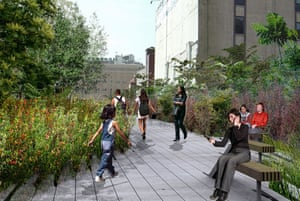 The design for the rebuilt High Line overhead park in New York. This picture shows the point where the High Line begins to narrow in Chelsea, and plantings grow denser, with shrubs and trees adding a variety of textures. Design by Field Operations and Diller Scofidio + Renfro. Courtesy of the City of New York.