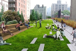 The design for the rebuilt High Line overhead park in New York. This picture shows the point where the High Line's only lawn 'peels up' at 23rd Street, where the line widens, providing crosstown views of the Manhattan skyline and the Hudson river. A stepped seating feature adds another layer of use to this central gathering area. Design by Field Operations and Diller Scofidio + Renfro. Courtesy of the City of New York.