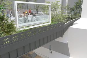 The design for the rebuilt High Line overhead park in New York. This picture shows the point where a spur of the flyover's metal walkway will bring visitors to a view over 26th Street. A viewing frame recalls the billboards that were once attached to the High Line. Design by Field Operations and Diller Scofidio + Renfro. Courtesy of the City of New York.
