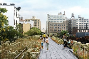 The design for the rebuilt High Line overhead park in New York. This picture shows a straight walkway, running alongside the railroad tracks, surrounded by a landscape of native species that once grew spontaneously on the High Line, interspersed with new species that ensure bloom throughout the growing season. Design by Field Operations and Diller Scofidio + Renfro. Courtesy of the City of New York.