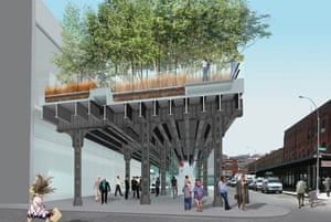 The design for the rebuilt High Line overhead park in New York. This picture shows the corner of Gansevoort Street and Washington Street in the Meatpacking District, the High Line's southern terminus. This is the site of a major access point and street-level plaza. Design by Field Operations and Diller Scofidio + Renfro. Courtesy of the City of New York.
