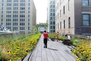 The design for the rebuilt High Line overhead park in New York. This picture shows a straight walkway, running alongside the railway tracks, surrounded by a landscape of native species that once grew spontaneously on the High Line, interspersed with new species that ensure bloom throughout the growing season. Design by Field Operations and Diller Scofidio + Renfro. Courtesy of the City of New York.