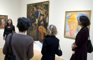 Pipe Players (C), Man with a Pipe (L) and Shepard of the Hills by Boris Grigoriev are shown during a press preview October 29, 2008 at Sotheby's in New York