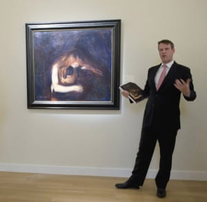 Vampire by Edvard Munch is shown during a press preview October 29, 2008 at Sotheby's in New York