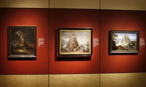 Various paintings of the Tower of Babel at Babylon: Myth and Reality exhibition at The British Museum, London