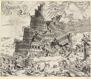 Fall of the Tower of Babel; 1547. Etching. Artist: Cornelis Anthonisz