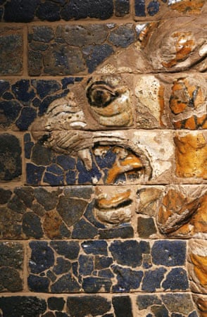 Glazed brick relief showing a lion. Babylon: Myth and Reality exhibition at The British Museum, London
