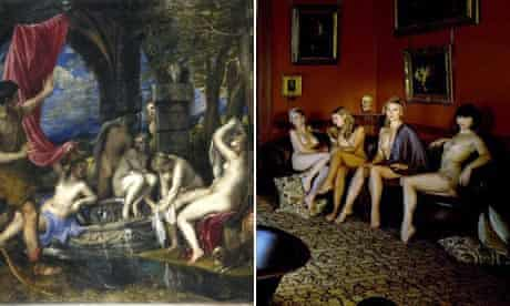 Titian's painting Diana and Actaeon, recreated by models including Kim Cattrall
