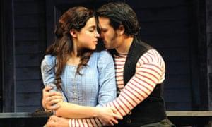 Alexandra Silber (Julie Jordan) and Jeremiah James (Billy Bigelow) in Carousel, Savoy, London