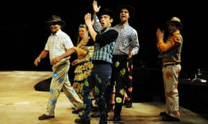 Rehearsals of the show Amazonia at the Young Vic in London