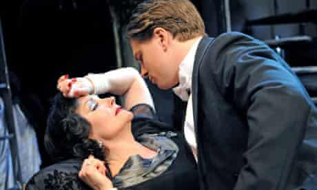 Kathryn Evans (Norma Desmond) and Ben Goddard (Joe Gillis) in Sunset Boulevard at the Comedy theatre in London