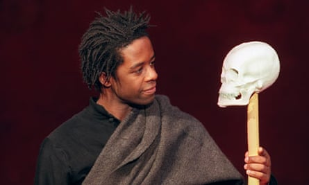 Adrian Lester's Hamlet in a dress rehearsal for Peter Brook's production in 2000