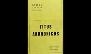 Programme for Titus Andronicus at the Stoll theatre