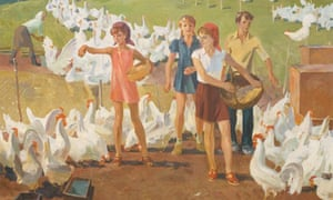 Students - Volunteers In The Fowl-Run (1973) by Evgeni Vladimirovich Semenov