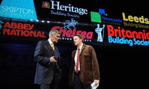 Simon Williams and Anthony Calf in The Power of Yes at the Lyttelton theatre