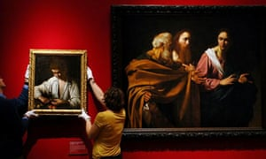 Boy Peeling Fruit (left) and The Calling of Saints Peter and Andrew by Caravaggio