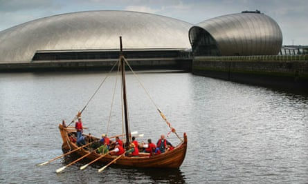 A replica of an ancient Celtic long ship on the Clyde in Glasgow