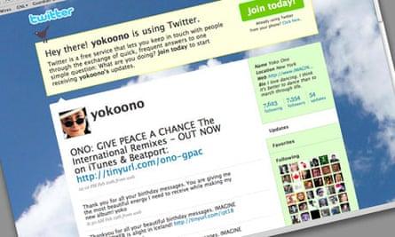 Yoko Ono's Twitter feed