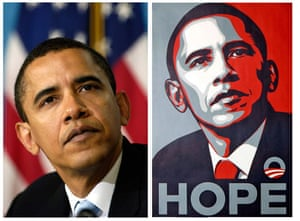The Week in Art: Shepard Fairey's Obama portrait vs AP's original photograph