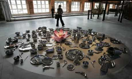 An installation piece by Subodh Gupta in the A Certain State of the World? exhibitiom