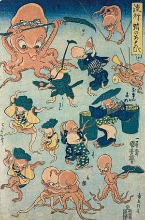 Kuniyoshi: Octopus games, by Utagawa Kuniyoshi.