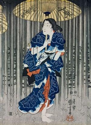 Kuniyoshi: Detail from Three women with umbrellas ..., by Utagawa Kuniyoshi
