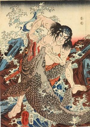 Kuniyoshi: Asahina Saburo Yoshihide wrestles with two crocodiles ..., by Kuniyoshi