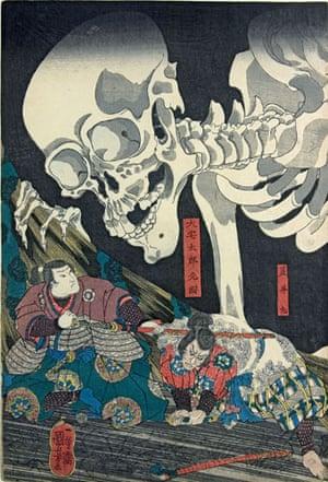 Kuniyoshi: Mitsukuni defies the skeleton spectre ..., by Utagawa Kuniyoshi