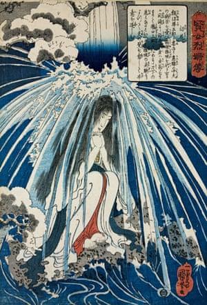 Kuniyoshi: Hatsuhana prays under a waterfall, by Utagawa Kuniyoshi