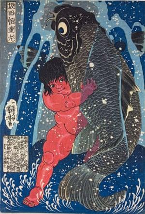 Kuniyoshi: Sakata Kaidomaru wrestles with a giant carp, by Utagawa Kuniyoshi