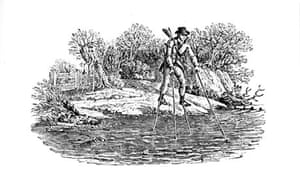 Man on stilts crossing river. Wood engraving by Thomas Bewick