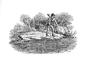 Thomas Bewick: Man on stilts crossing river,  Thomas Bewick
