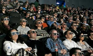 3D glasses worn by cinema audience