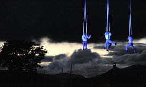 Voala show off their skills above Lake Windermere as part of the Lakes Alive outdoor festival