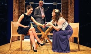 Helen Baxendale, Aden Gillett and Emma Cunniffe in Amongst Friends at Hampstead Theatre