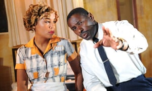 Lorraine Burroughs as Camae and David Harewood as Martin Luther King in The Mountaintop