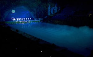 Dancers perform Swan Lake inside the National Aquatics Centre in Beijing