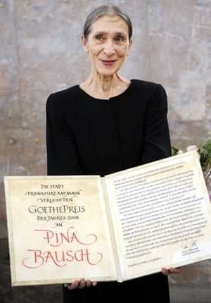 Pina Bausch: Pina Bausch at ceremony for the Goethe Prize in Frankfurt Germany