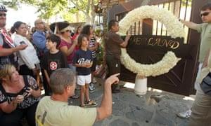 Fans outside Michael Jackson's Neverland ranch