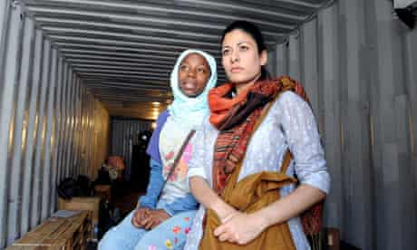 Mercy Ojelade (Asha) and Amber Agar (Mariam) in The Container outside the Young Vic